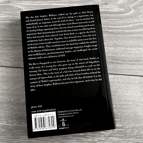 Steve Ignorant: The Rest is Propaganda – back cover with typesetting by Paul Jackson
